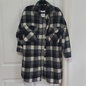 NWT Oversized black plaid jacket